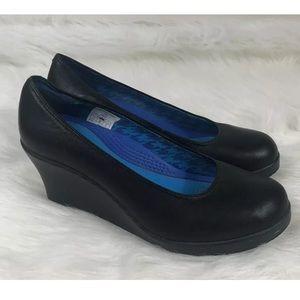 Cro Crocs A-Leigh Wedge Womens  8.5 Black Slip On